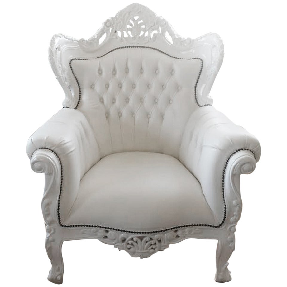 French Armchair Large French Louis Xv Rococo Style White