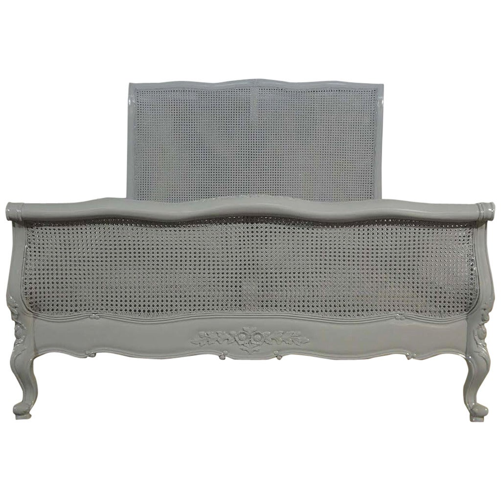 French louis xv farmhouse chic style grey cane bed in for French farmhouse bed
