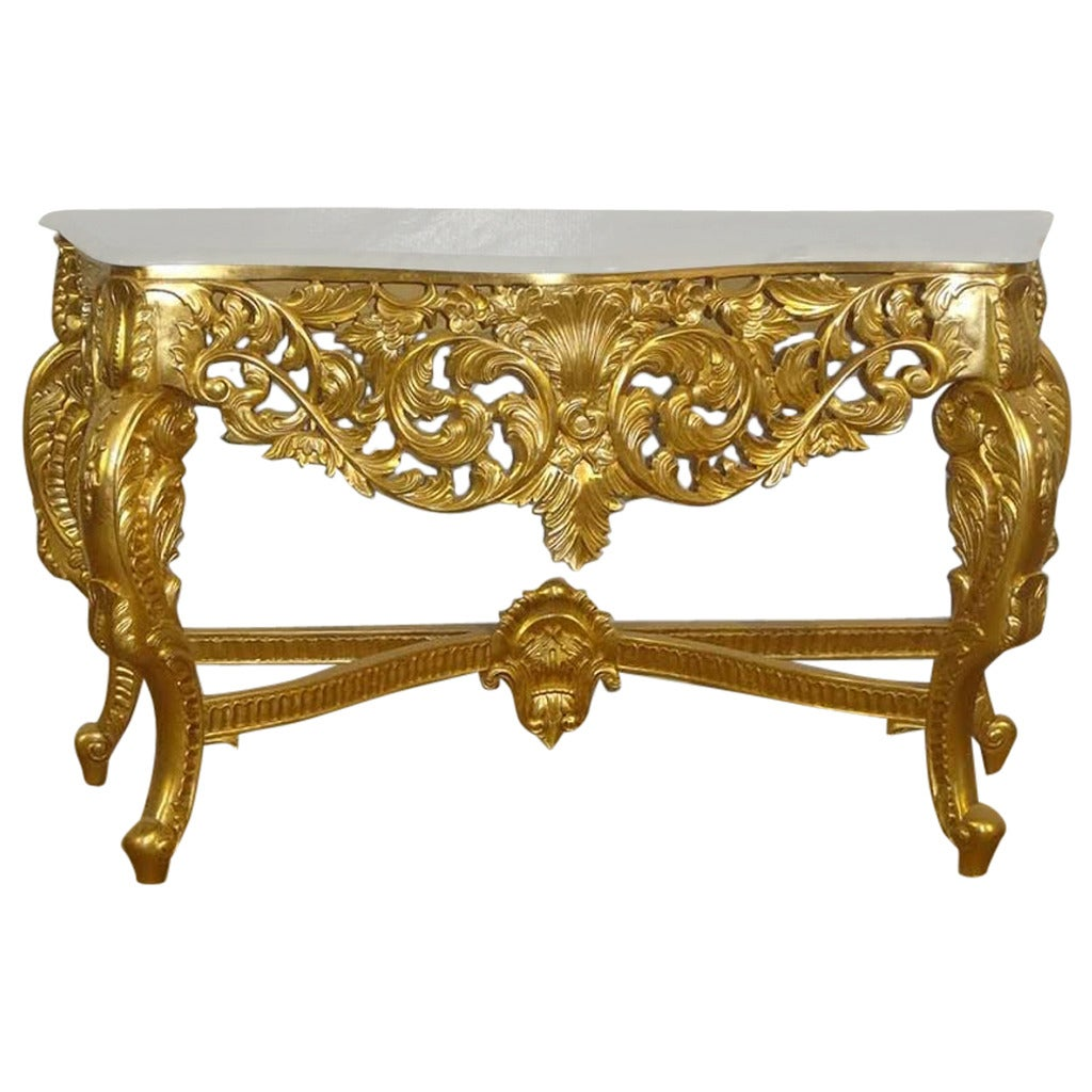 french table french louis xv baroque carved gold console table at 1stdibs. Black Bedroom Furniture Sets. Home Design Ideas