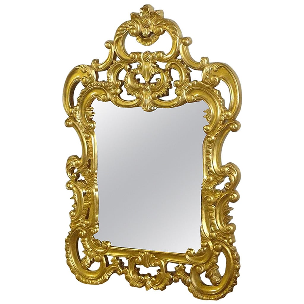 French mirror french louis xv baroque style wall gold for Baroque style wall mirror