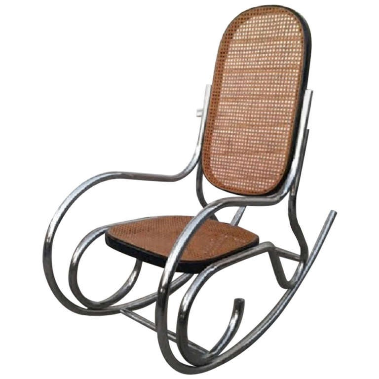 Rocking Chair Cane And Chrome At 1stdibs