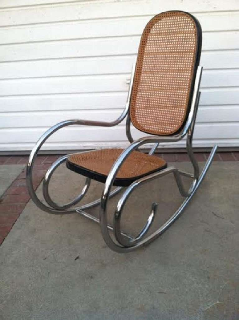 Rocking Chair Cane and Chrome For Sale at 1stdibs