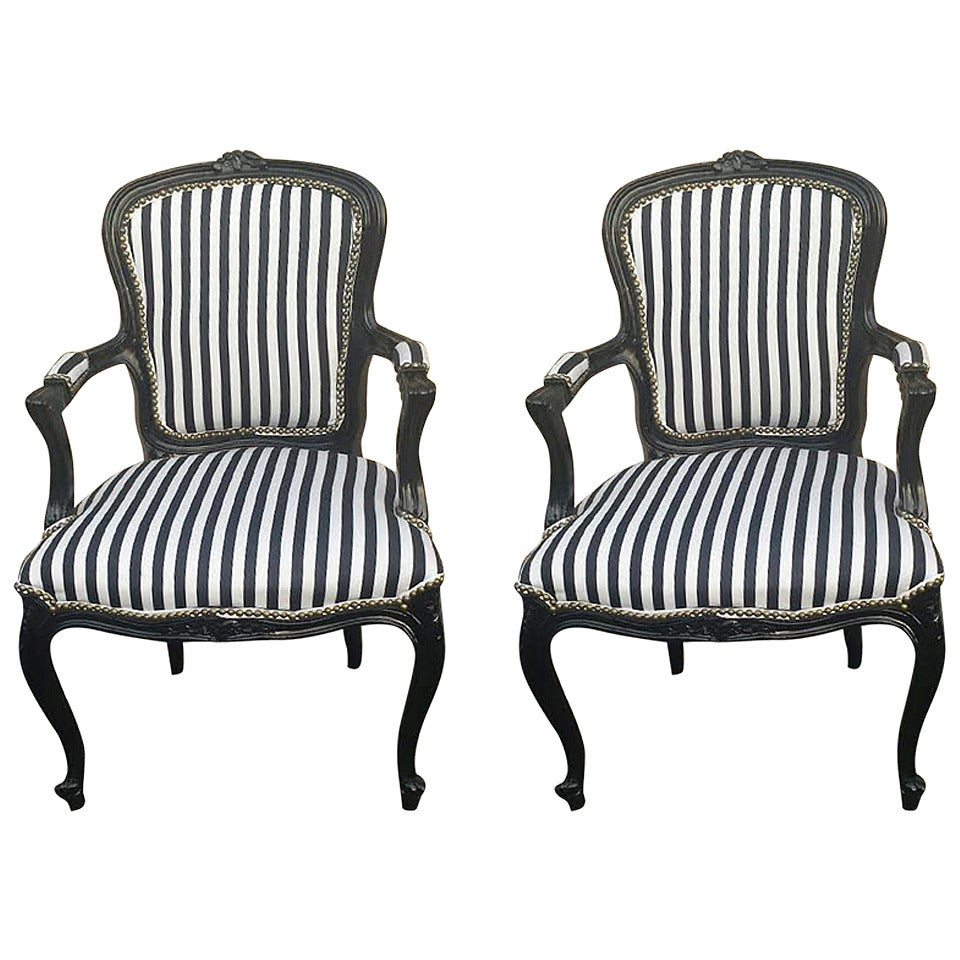 french armchairs pair of french louis xv style black and