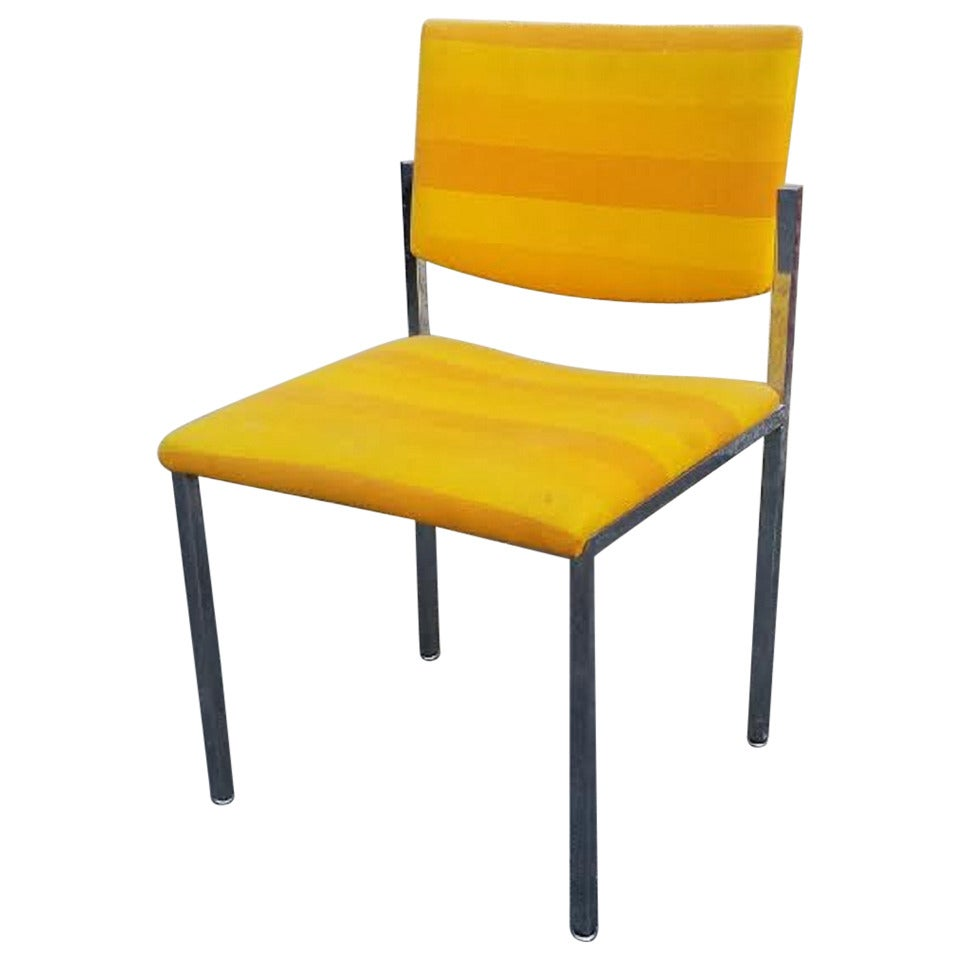 Side Chair Mid Century Modern Style Striped Yellow Side