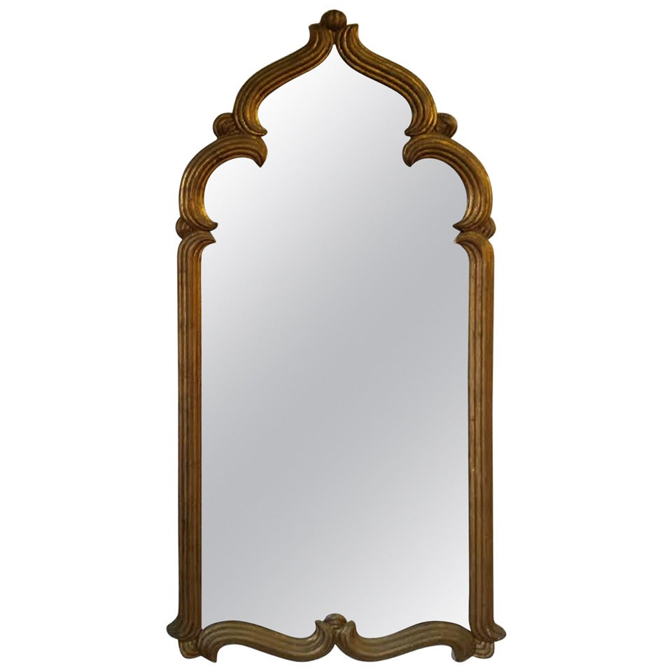 Hollywood regency moroccan style gold leaf wall mirror at for Gold wall mirror