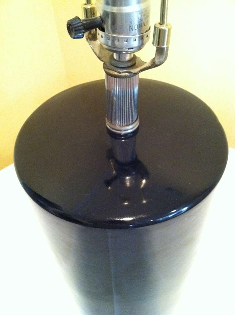 Pair Tall Cylinder Ceramic Glazed Black Table Lamps At 1stdibs
