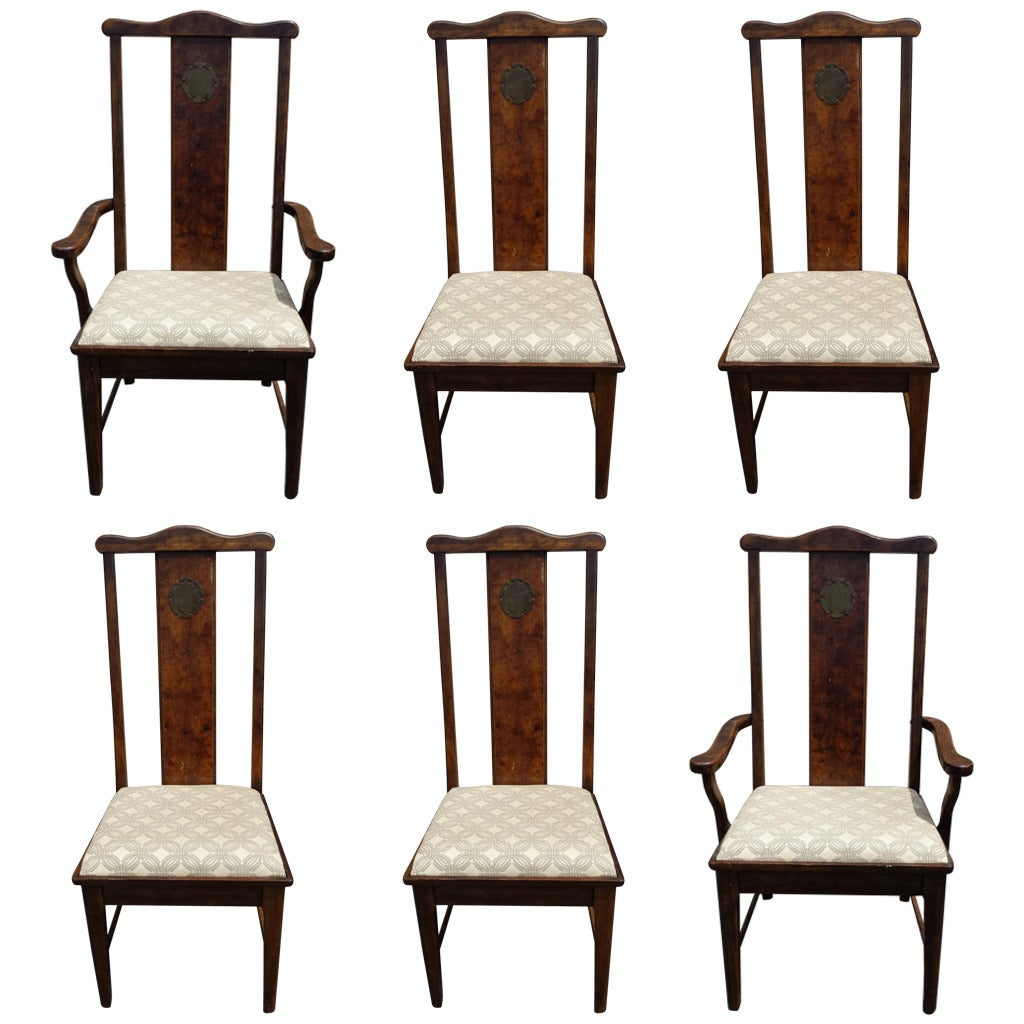asian dining room chairs | Dining Chairs, Set of Six Asian Chinoiserie Style Dining ...