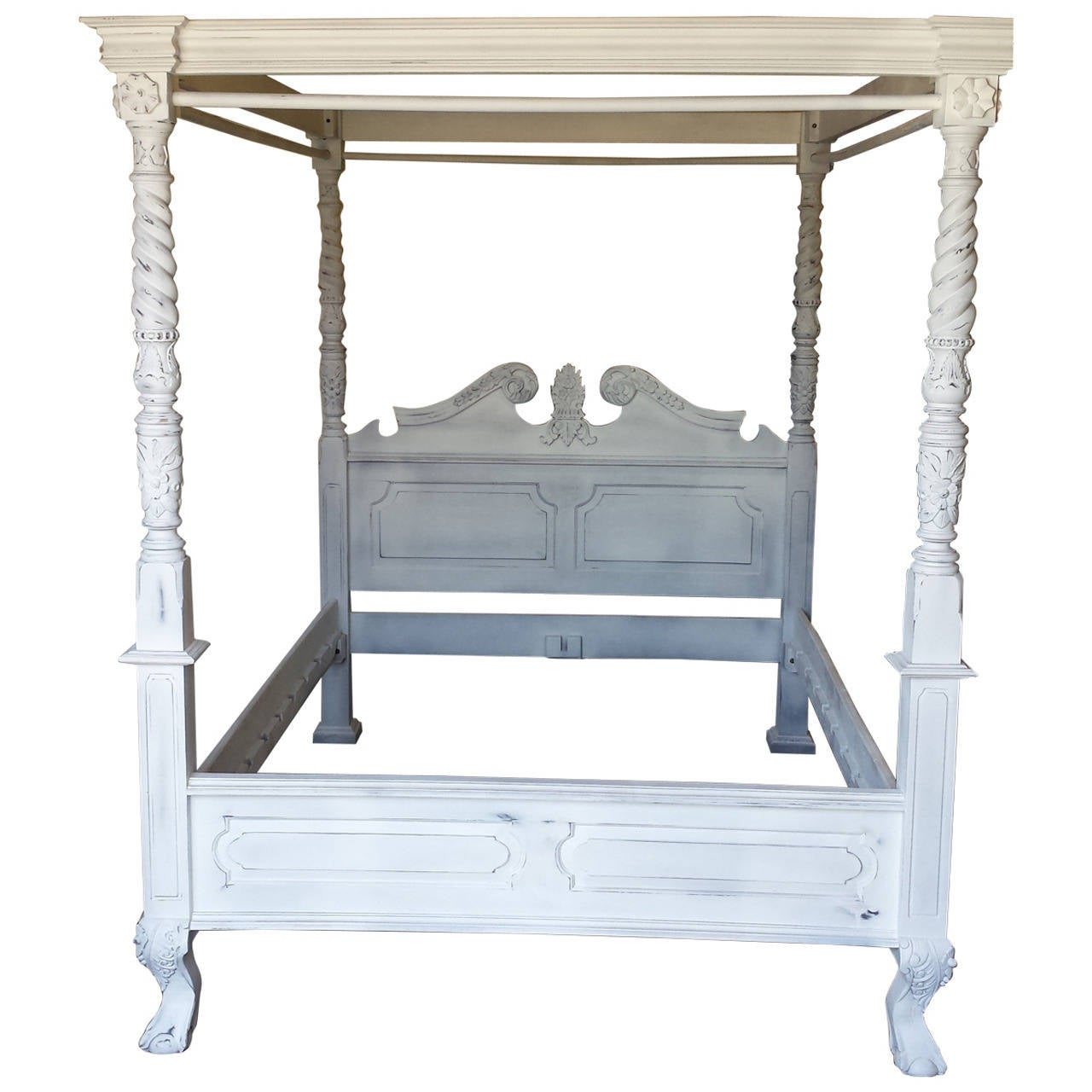 Onsale french louis xv style white canopy bed frame queen for White canopy queen bed
