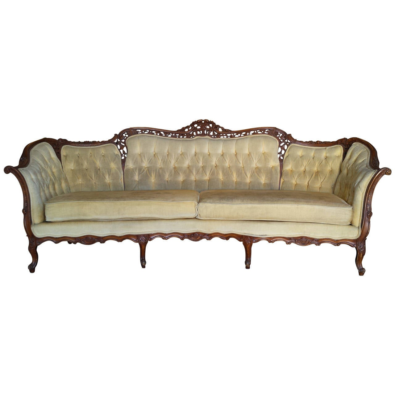 French sofa french louis xv style full size tufted sofa for French divan chair