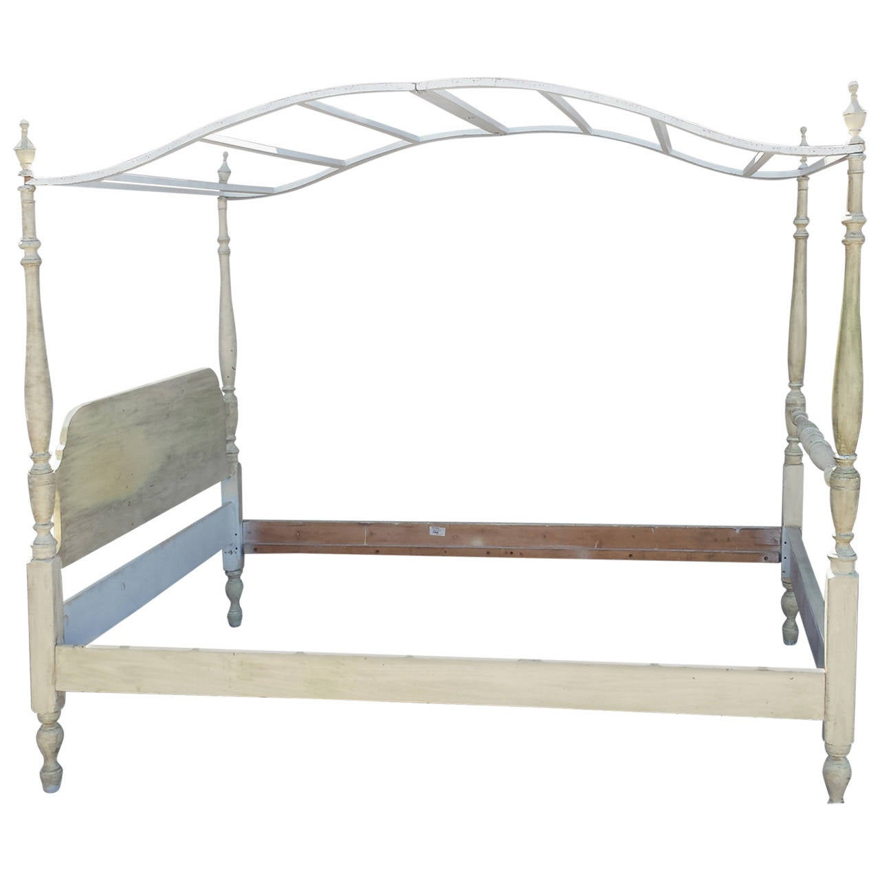 Painted French Provincial Country Style Canopy Bed Full