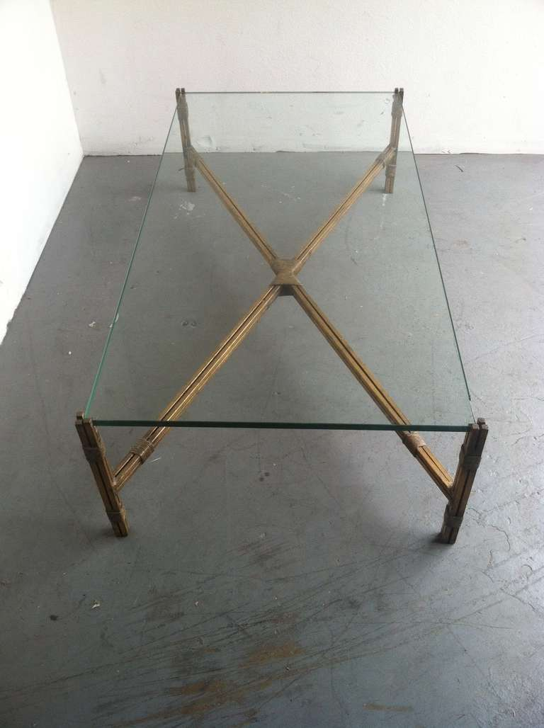 Large Glass Top Coffee Table With Gold Leaf Finish On The Metal Base At 1stdibs