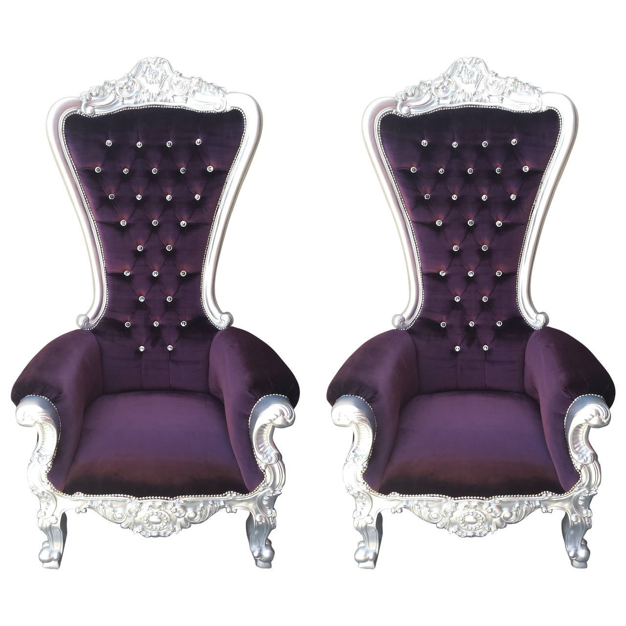 Armchair tall throne chair in purple velvet with crystals at 1stdibs