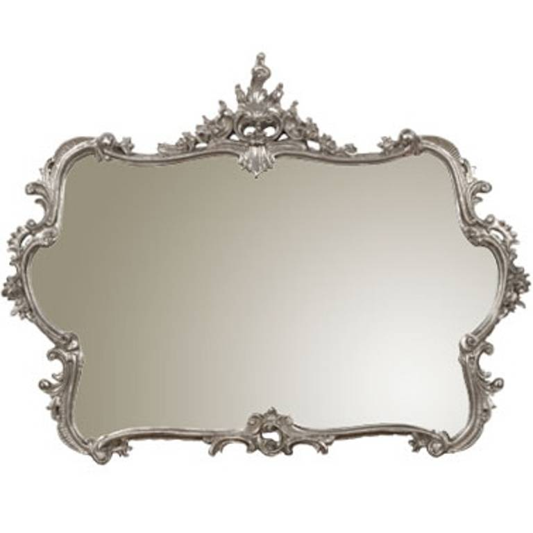french louis xv style carved wall mirror in silver leaf at