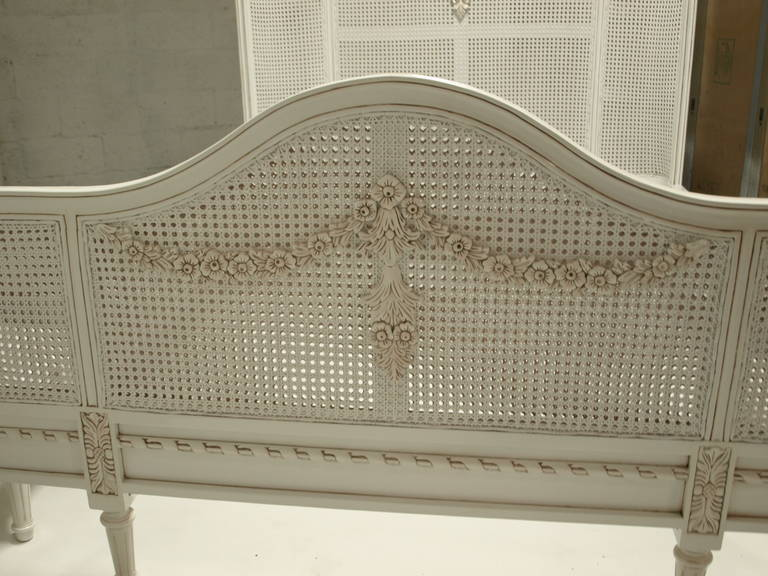French bed in louis xv style white cane queen size for - Used queen bedroom sets for sale ...
