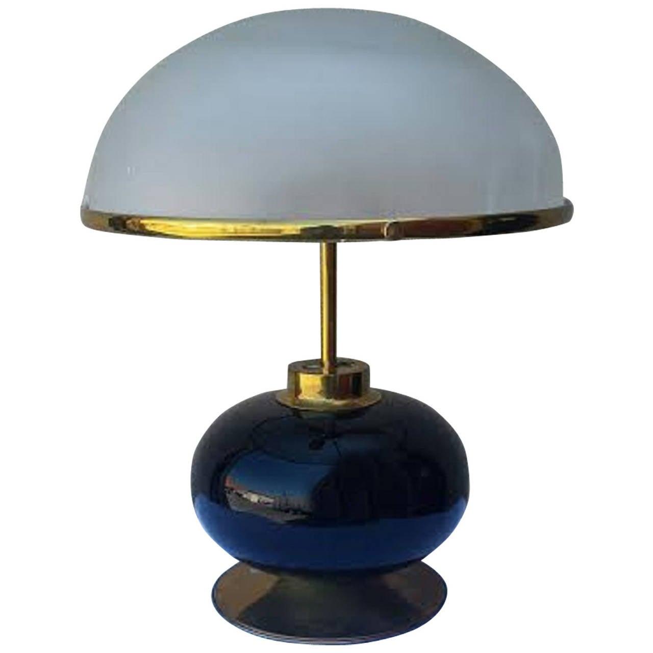 lamp large mid century desk lamp mushroom shade at 1stdibs. Black Bedroom Furniture Sets. Home Design Ideas