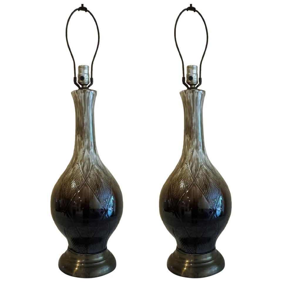 table lamps pair mid century porcelain table lamps at 1stdibs. Black Bedroom Furniture Sets. Home Design Ideas