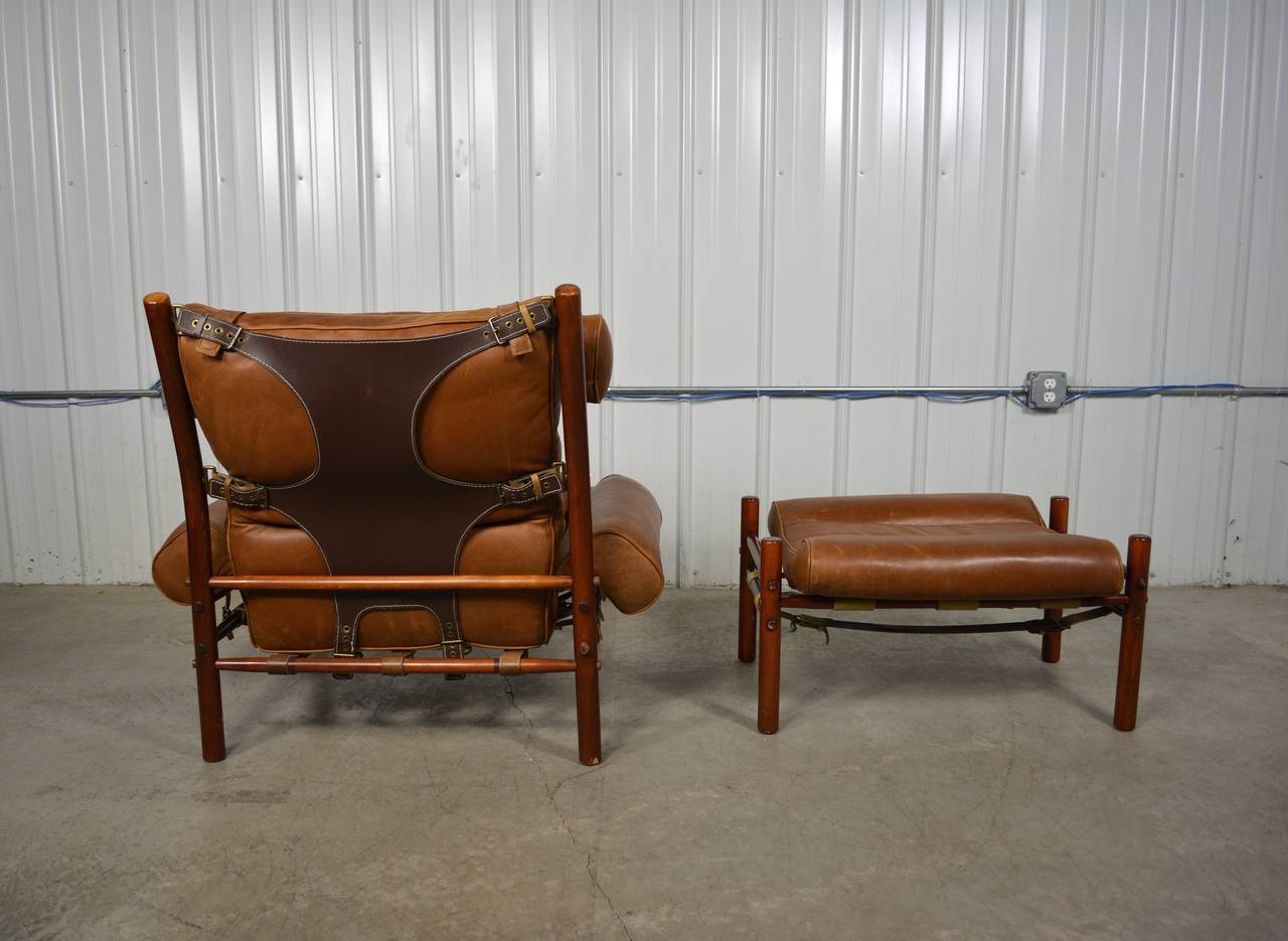Inka Leather Lounge Chair and Ottoman by Arne Norell at