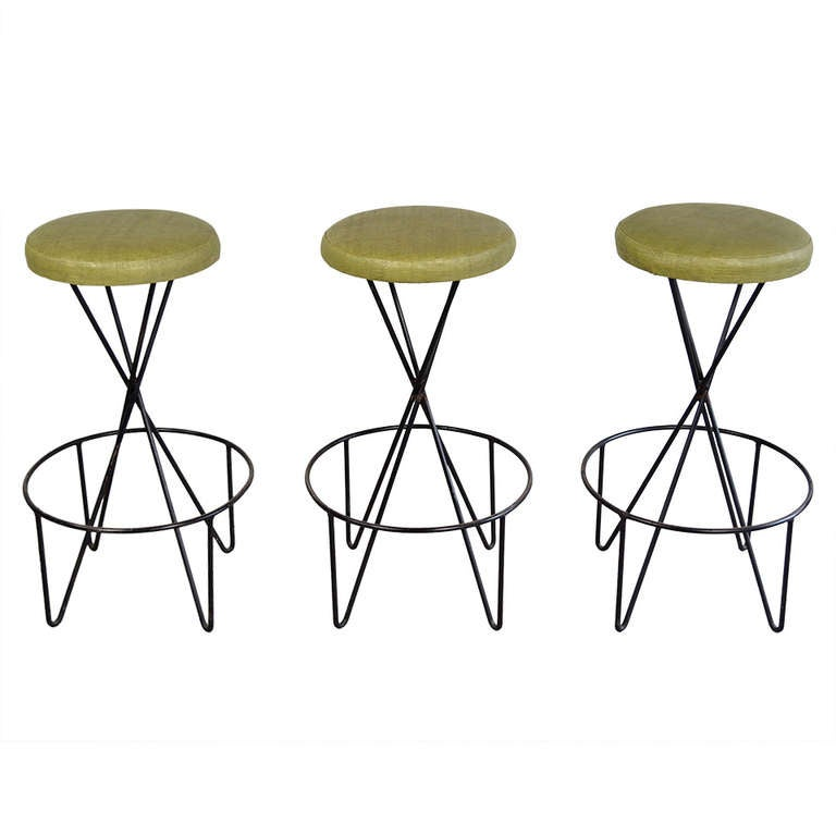 Paul Tuttle Set of 3 Mid Century Modern Bar Stools at 1stdibs