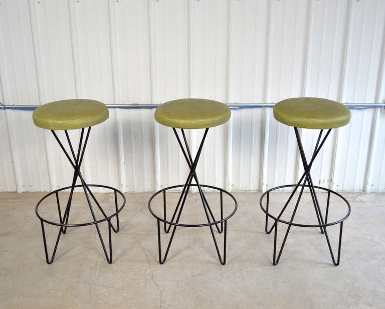 Paul Tuttle Set of 3 Mid Century Modern Bar Stools 2