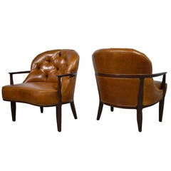 Edward Wormley Leather Janus Lounge Chairs