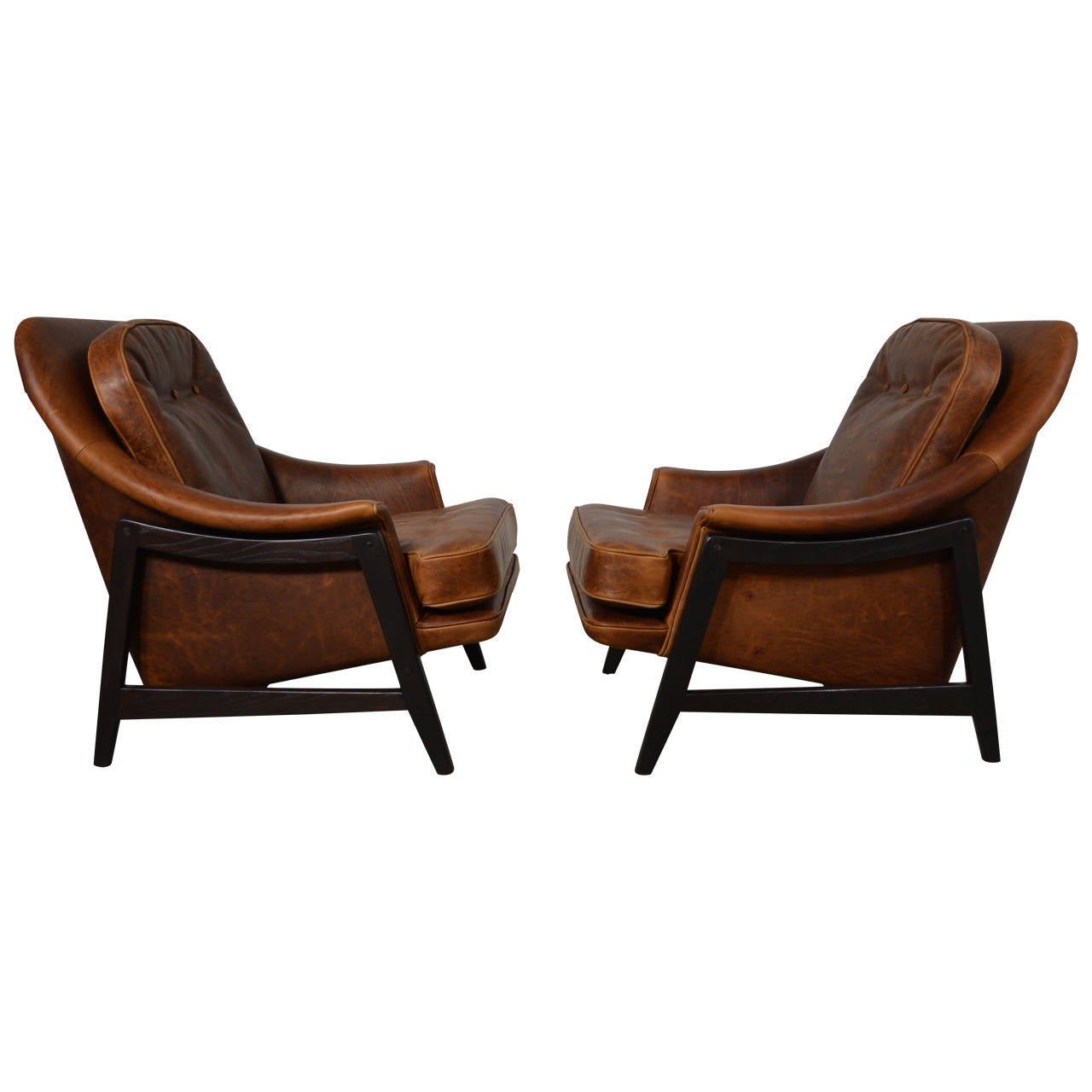 Edward wormley leather janus lounge chairs at 1stdibs - Edward wormley chairs ...