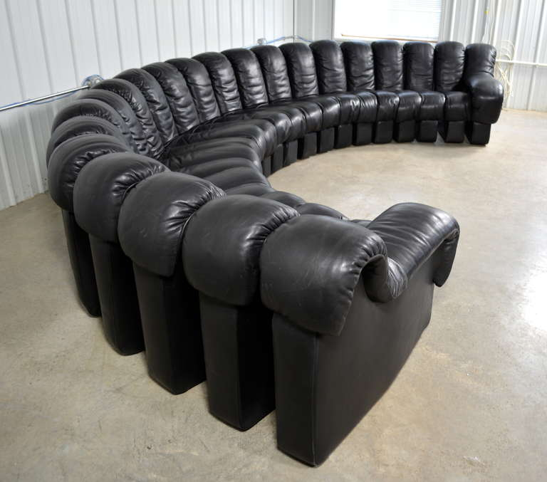 De Sede For Stendig DS600 Non Stop Modular Sofa In Black Leather At 1stdibs