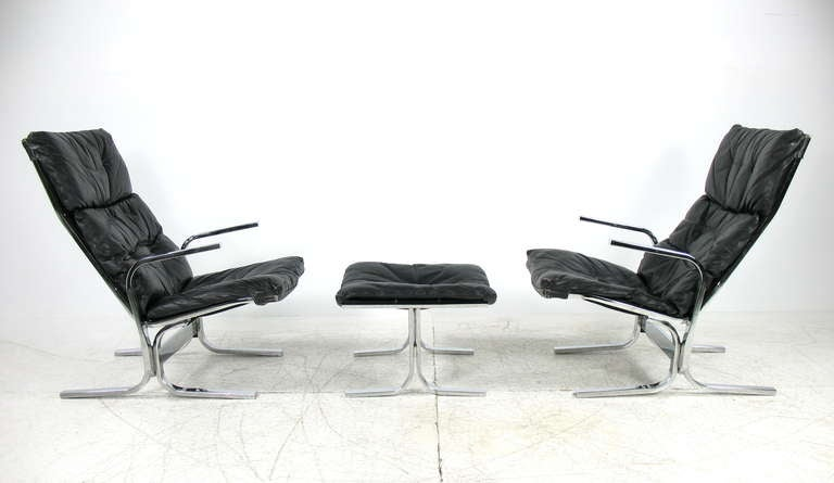 Ingmar Relling for Westnofa Pair of Lounge Chairs and Ottoman  2