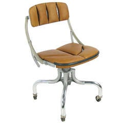 "Do More or ""Domore"" Industrial ""Air Duct"" Leather Desk Task Chair"