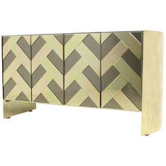 Ello Credenza with Brass and Smoked Mirror Herringbone Front