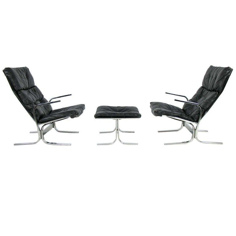 Ingmar Relling for Westnofa Pair of Lounge Chairs and Ottoman