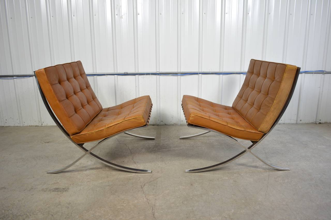 Mies van der rohe chair - Pair Of Ludwig Mies Van Der Rohe Barcelona Chairs 2