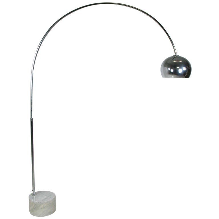1960 S Italian Carrera Marble And Chrom Arc Floor Lamp At