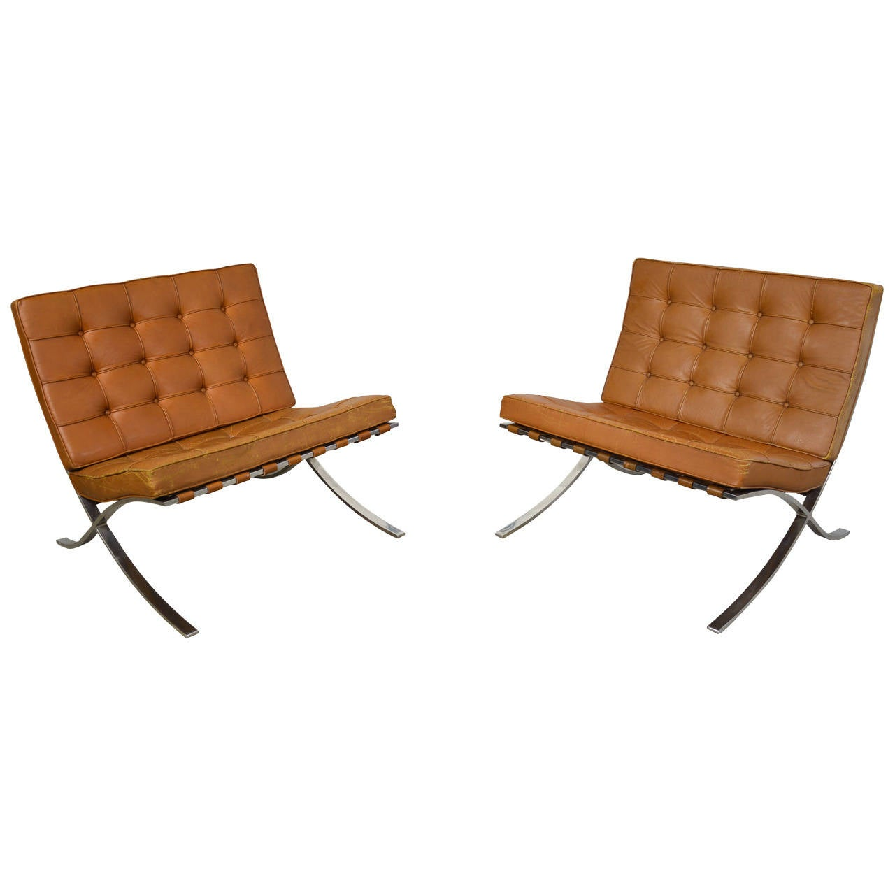 pair of ludwig mies van der rohe barcelona chairs at 1stdibs. Black Bedroom Furniture Sets. Home Design Ideas