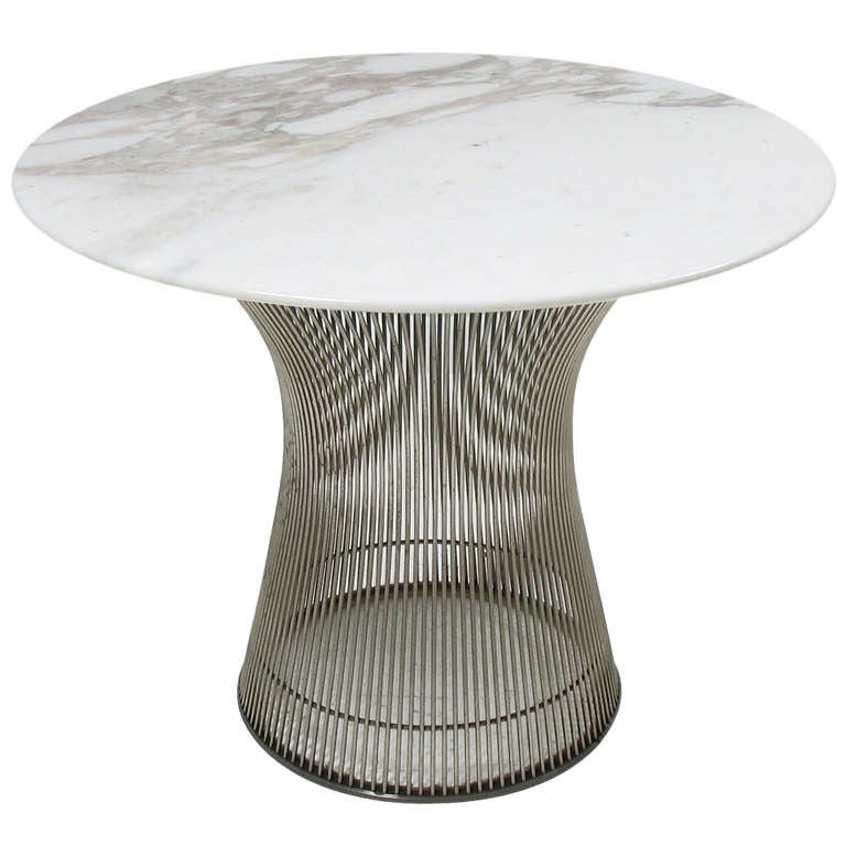 Warren platner side table with carrera marble top for Table carrera