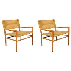 Mel Smilow Pair of Walnut and Woven Rush Chairs