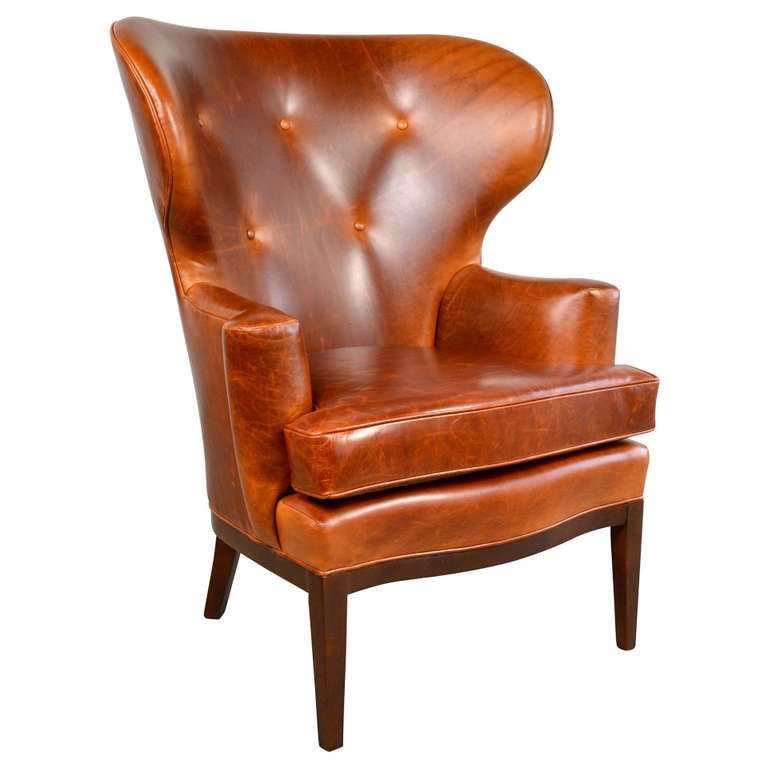 Early wingback leather lounge chair by edward wormley for dunbar at 1stdibs - Edward wormley chairs ...