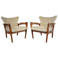 Adrian Pearsall Sculptural Pair of Wingback Lounge Chairs