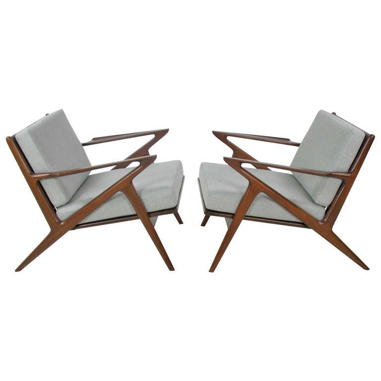 Poul jensen pair of z chairs for selig at 1stdibs for Poul jensen z chair