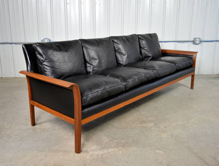 Hans Olsen Danish Modern Black Leather And Teak Sofa In Excellent Condition For Loves
