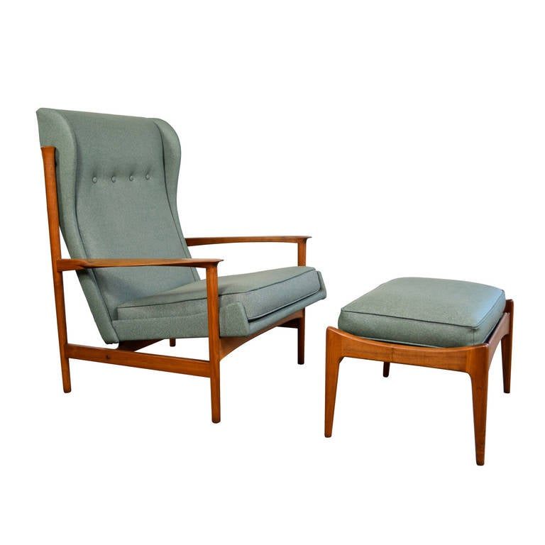 Ib Kofod Larsen Danish Modern Teak Lounge Chair And Ottoman At 1stdibs