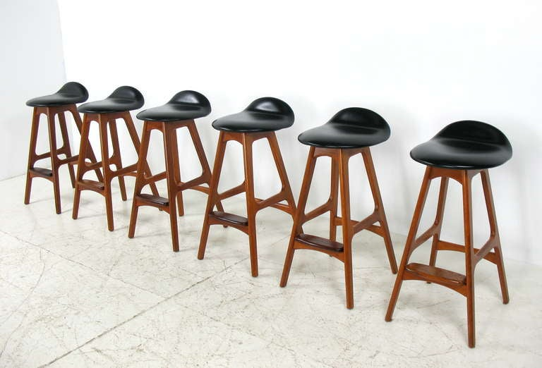Erik buch teak and rosewood bar stools with leather seats at 1stdibs - Erik buch bar stool ...