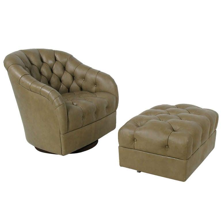 Ward bennett tufted leather swivel lounge chair and for Swivel club chair leather