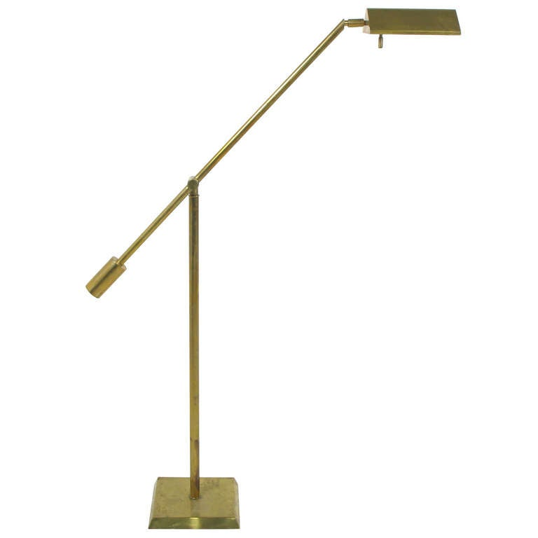 Adjustable brass floor reading lamp by chapman at 1stdibs for Floor lamps reading lights
