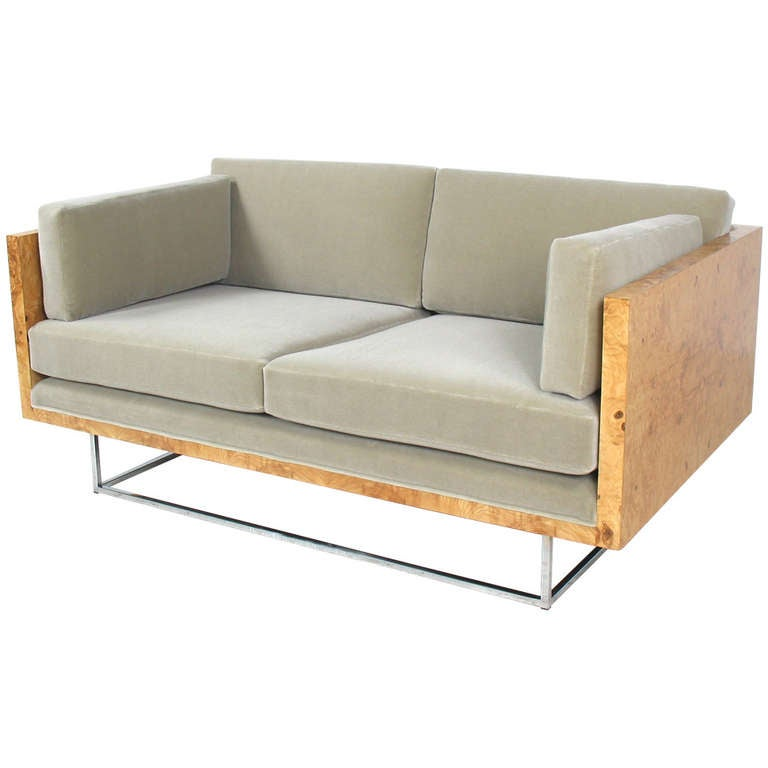 Milo Baughman Burled Wood Case Sofa Settee For Sale At 1stdibs