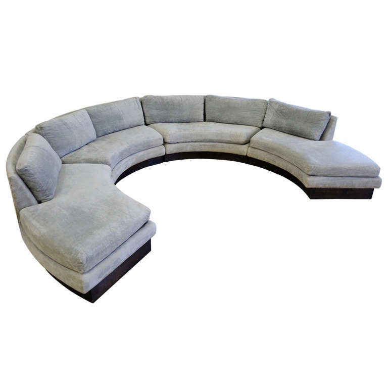 Circular Curved Sectional Sofa By Erwin Lambeth For John