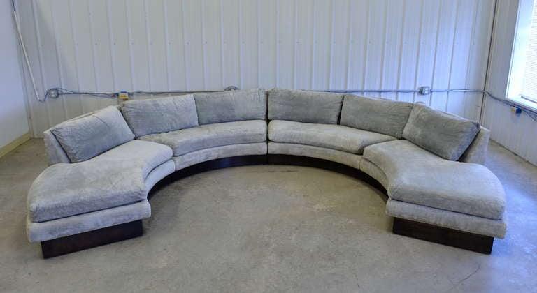 Circular Curved Sectional Sofa By Erwin Lambeth For John