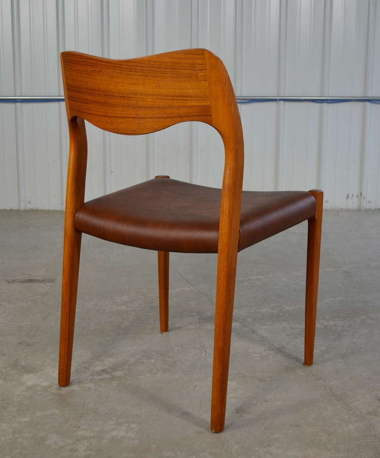 set of eight teak danish modern dining chairs by j l