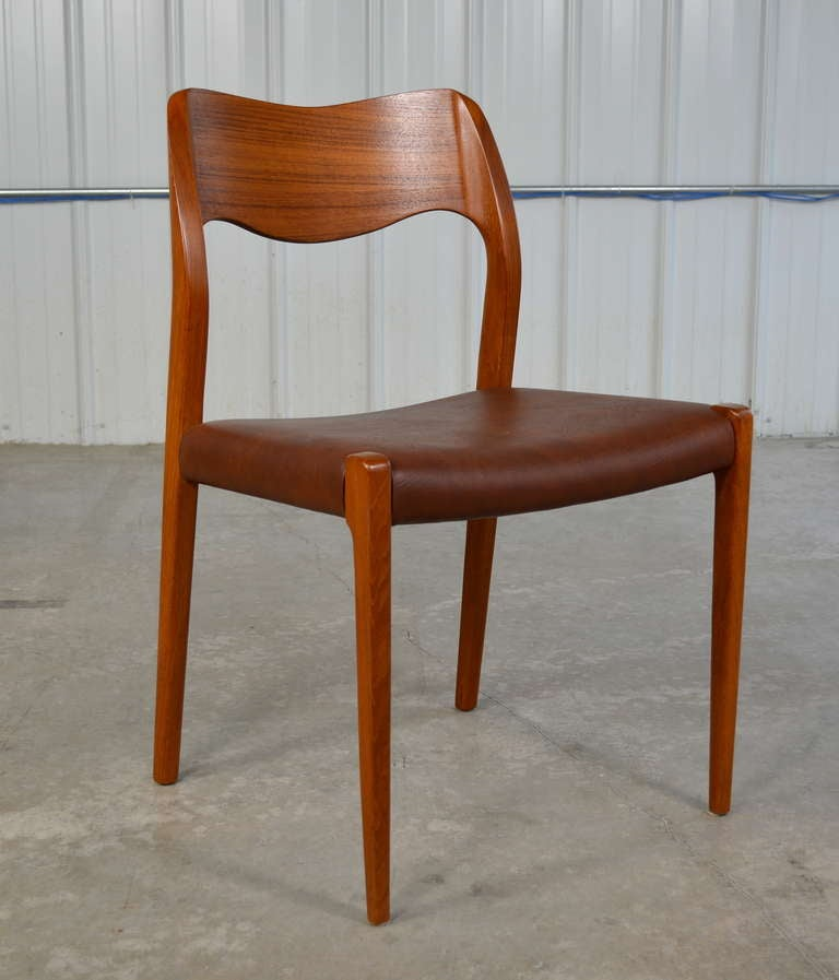 Set Of Eight Teak Danish Modern Dining Chairs By J L Moller At 1stdibs