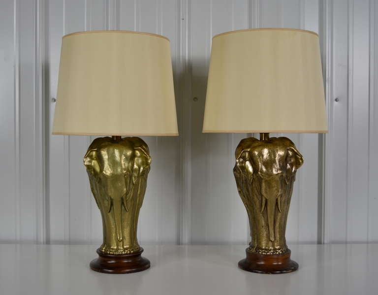 Pair of brass elephant lamps at 1stdibs for Table lamp elephant base