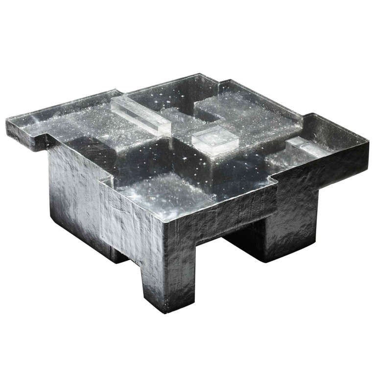 Nucleo 39black resin fossil coffee table39 large for sale at for Fossil coffee table